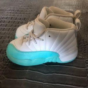 Jordan Retro 12.  White Aqua and white